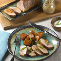 Pork Tenderloin, Potatoes and Horseradish-Mustard Seed Sauce